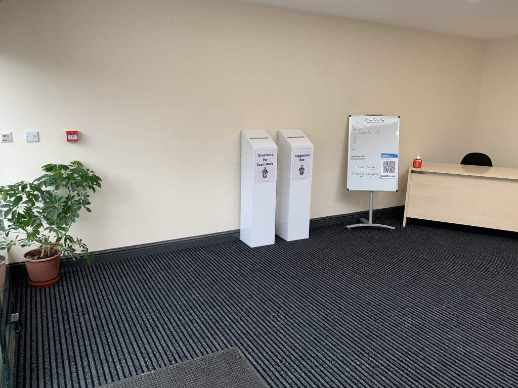 inside the new atrium showing suggestion boxes