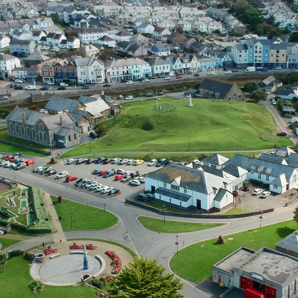 An aerial shot of Bude Light & Parkhouse Centre